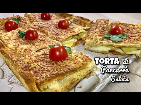 TORTA DI PANCARRE' PATATE SOPRESSATA E MOZZARELLA ricetta veloce WHITE BREAD CAKE- Tutti a Tavola