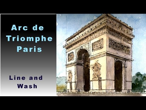 how to draw the arc de triomphe in 2 point perspective