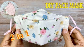 DIY Face Mask 3D 2 in 1 Breathable Easy Pattern How to make a Face Mask with Sewing Machine