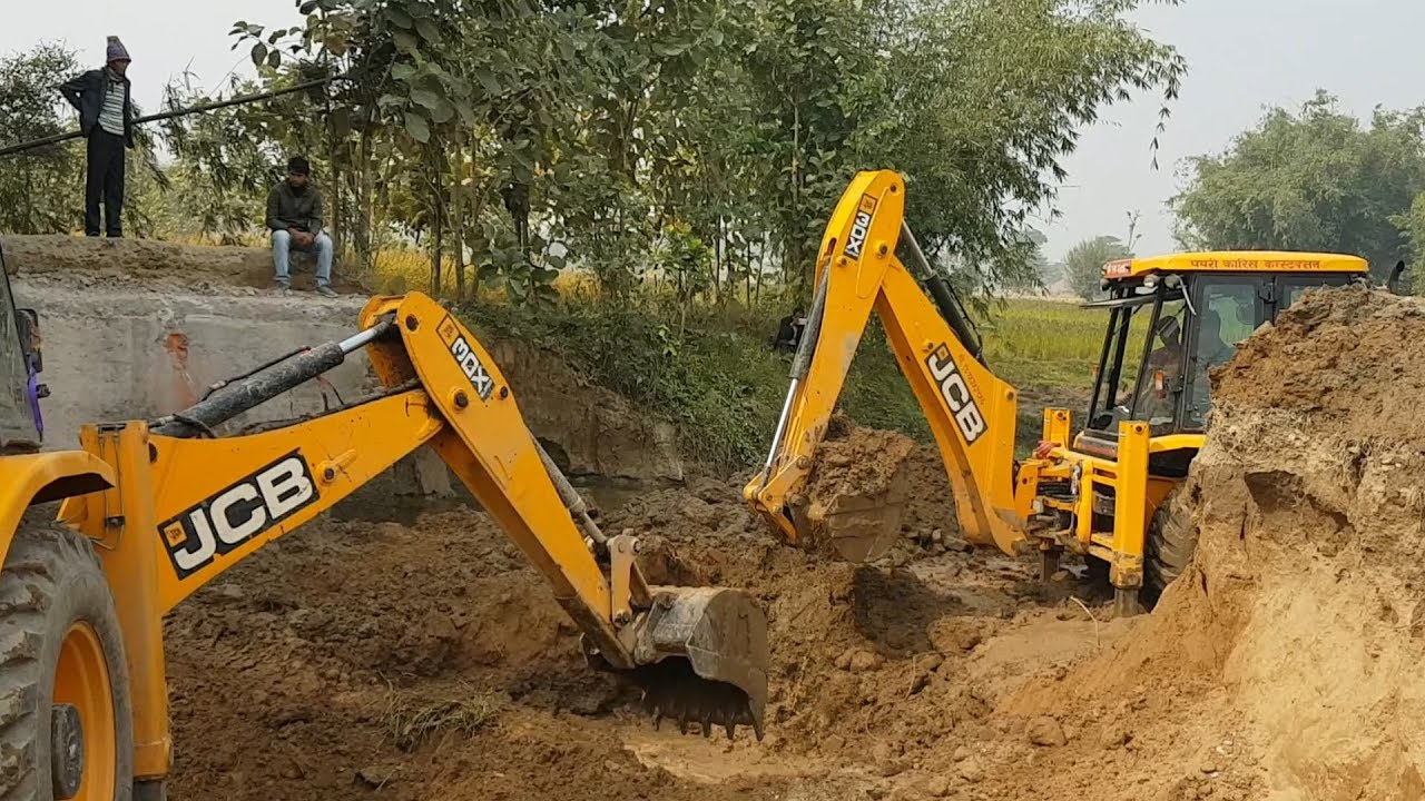 Two JCB Working For New Bridge Construction - JCB Dozer Working Video