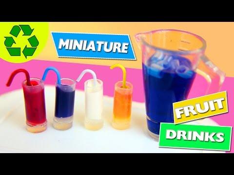 DIY   Miniature Doll Glasses & Fruit Drinks with Liquid Inside - simplekidscrafts