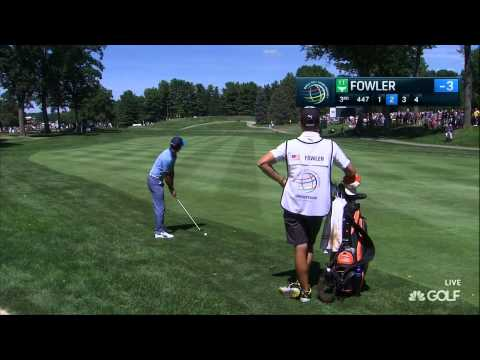 Golf analyst predicts Rickie Fowler will hit ball into crowd. Rickie Fowler hits ball into crowd.