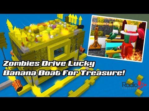 Roblox Zombies Drive Lucky Banana Boat For Treasure!