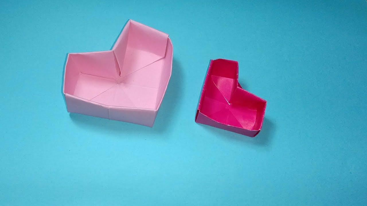 💗 [Origami] Heart box paper | Gấp hộp giấy hình trái tim 💗 | RXTN DIY 212