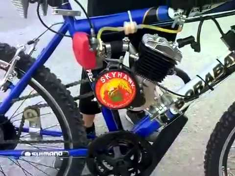 Bike with motor kit conversion Skyhawk 80cc test run