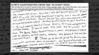 Kurt Cobain was Murdered: Compare the Handwriting - Courtney Love and Kurt Cobain