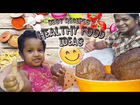 Healthy Food Recipe 👉 Finger Millet Ball & Giant Taro Curry - Sri Lanka Village Food