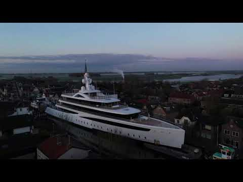 Drone captures superyacht docked on tiny Dutch canal