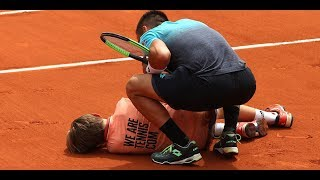 French Open ball boy c rashes into player