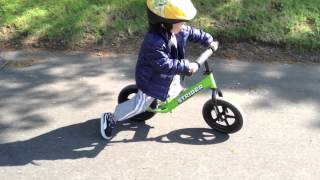 3 Year Old Chase on his Strider Balance Bike - End of 1st Week!