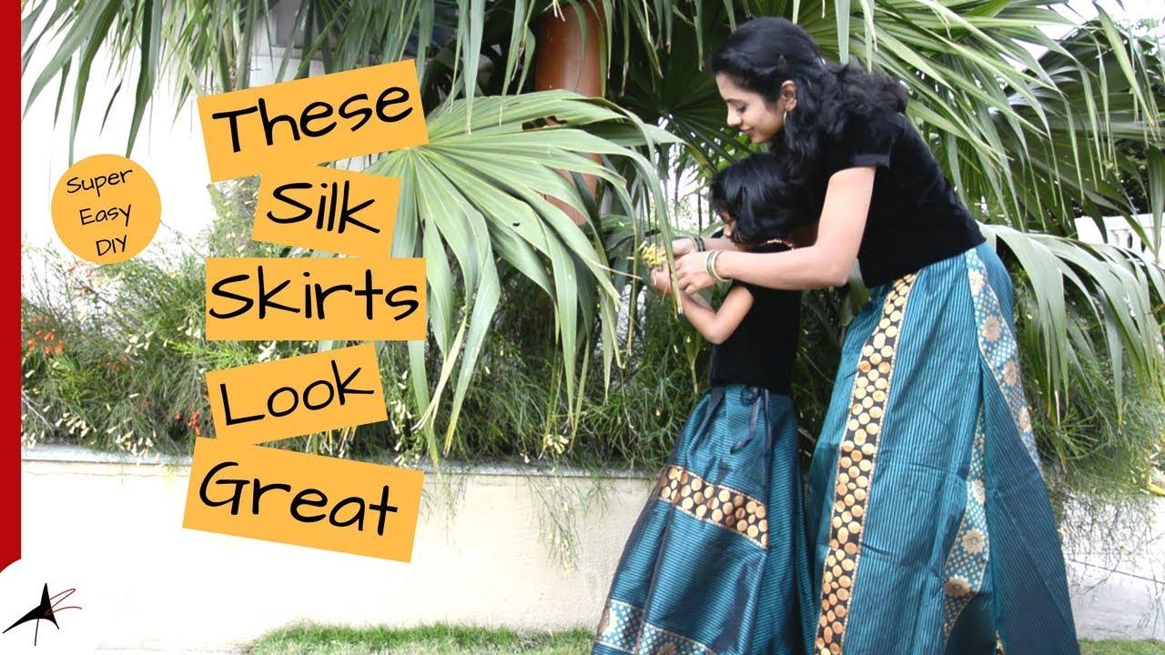 Mom And Daughter Silk Skirt Try On   Arpitharai