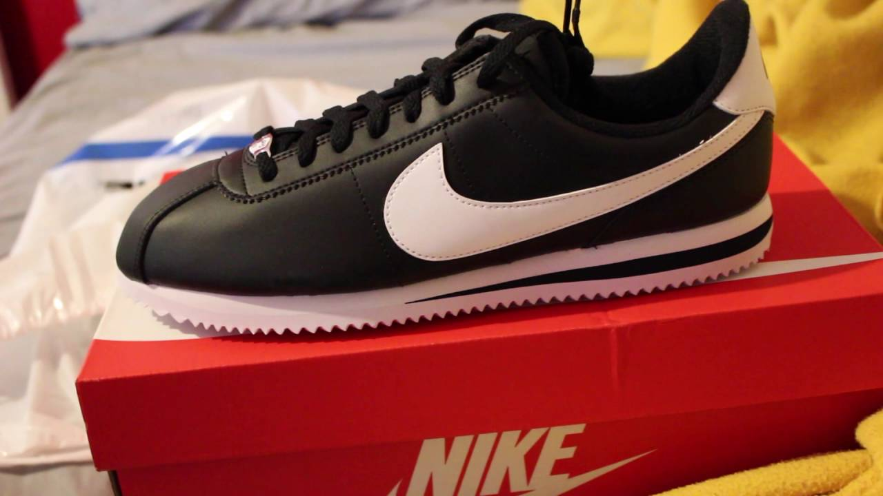 858f1fe2 Nike Black/White Cortez Unboxing & On Feet - YouTube