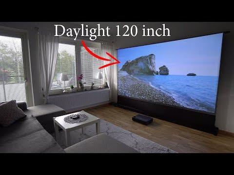 Xiaomi 4K Laser Projector On 120'' Floor Rising ALR Projection Screen