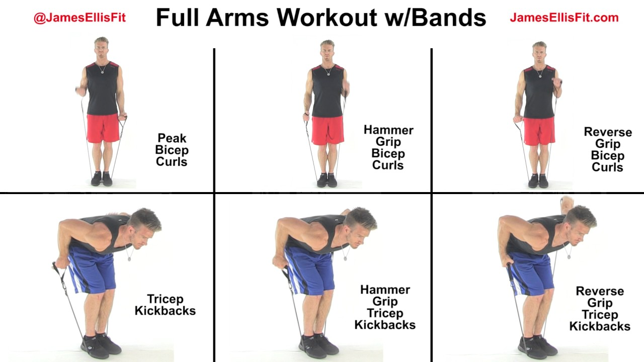 Full Arms Workout Using Resistance Bands Youtube