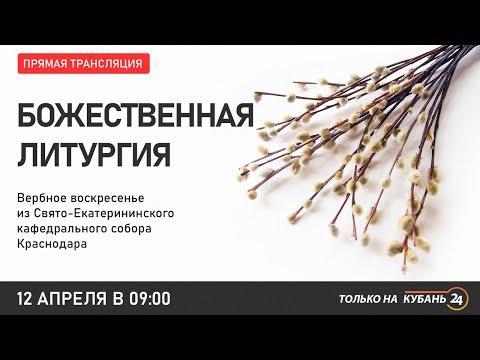 Вербное воскресенье. Прямая трансляция службы из Свято-Екатериниского храма Краснодара.