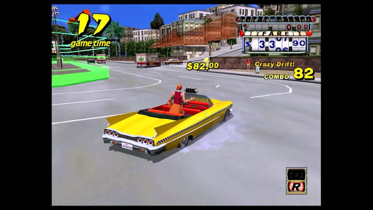 Crazy Taxi (Dreamcast) - Game Beaten S Rank with One Customer Drift Glitch