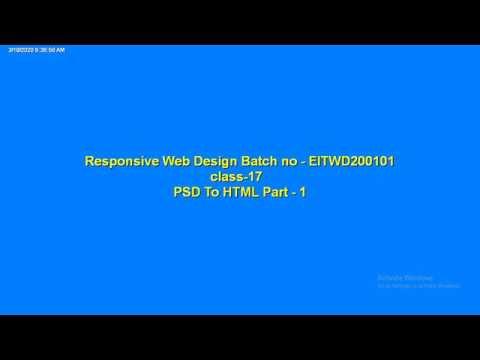 Responsive Web Design || Class-19( PSD TO HTML PART - 1)