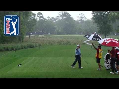 Angel Cabrera aces No. 9 in the pouring rain at Shell