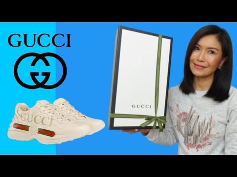 รองเท้าผ้าใบ Rhyton Gucci logo leather sneaker | Unboxing + Onfeet