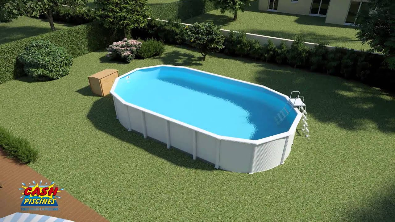 Montage piscine acier ligne bleue by cash piscines youtube for Piscine de jardin cora