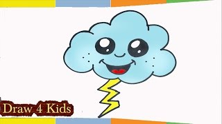 how to draw A Cute Cloud with Lightning Bolt thunder step by step for kids easy tutorial