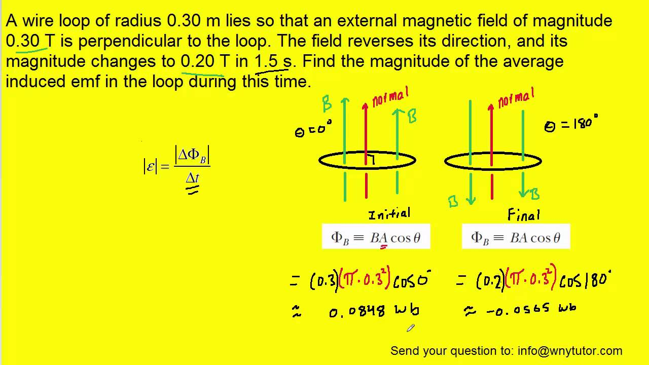 a wire loop of radius 0 30 m lies so that an external magnetic field of  magnitude 0 30 t is perpendi