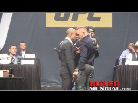 Jose Aldo and Conor McGregor Face Off and bump heads at #GOBIG presser