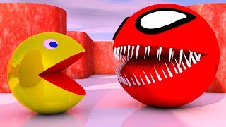 Pacman Vs Red Monster Pacman as he finds a pacman and roll around
