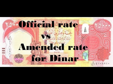 Official Rate Vs Amended Rate For The Dinar