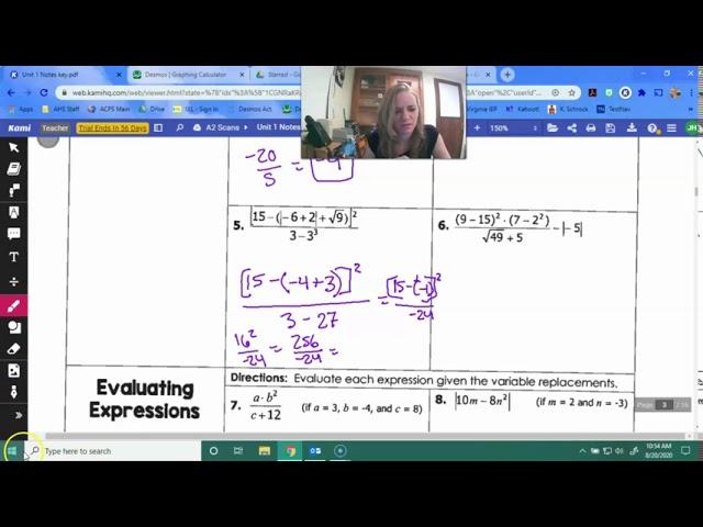Algebra 2- Order of Operations
