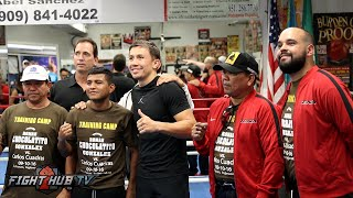 Gennady Golovkin and Chocolatito Gonzalez embrace in Big Bear during training camp