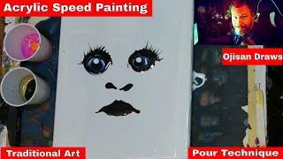 Acrylic Pour Hybrid Portrait Painting