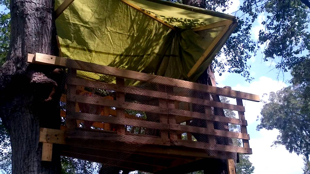 House Made From Pallets Tree House Made From Pallets Youtube