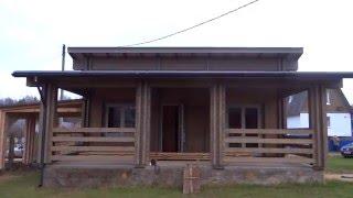Дача из бруса. Двойной брус.(Данный дачный домик с большой верандой построен по финской технологии