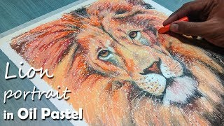 How to Draw A Lion Portrait in Oil Pastel