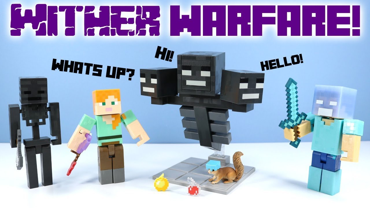Minecraft Survival Mode Wither Warfare Action Figure Pack Mattel Toys Huge Youtube