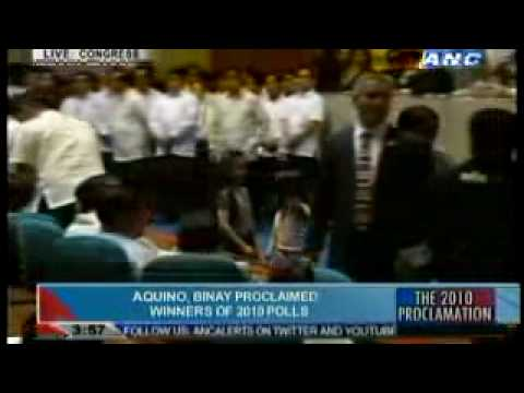 Noynoy Aquino and Jejomar Binay Proclamation June 09, 2010 Part 2/2 President Vice Elect