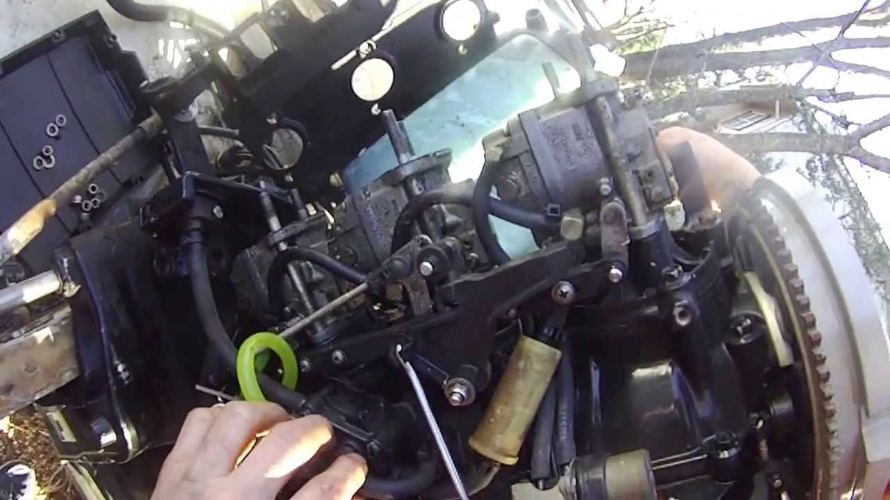 mercury outboard 90hp tear down part 3  removing carburetors cover  YouTube