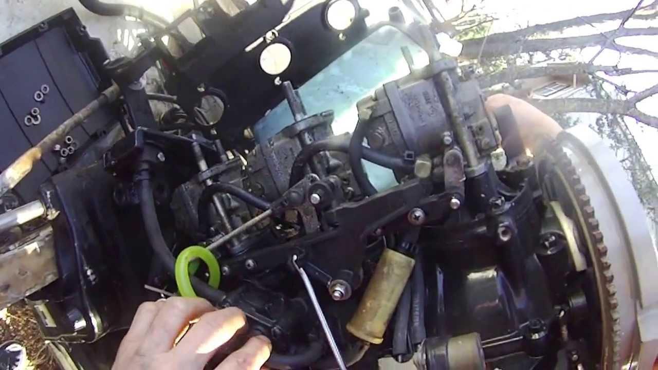 mercury outboard 90hp tear down part 3 removing carburetors cover youtube [ 1280 x 720 Pixel ]