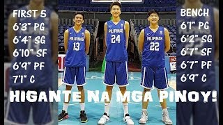 Tallest Philippine Team | Batang Gilas Unofficial Lineup | 2018 Fiba Asia U18 | Bangkok Aug 5-11