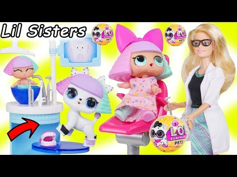 LOL Surprise Dolls + Lil Sisters Take New L.O.L. Pets Series 3 Wave 2 to Barbie Dentist Doctor