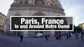 City Walks: Paris, France - Notre Dame Cathedral Inside and Around - virtual treadmill walk