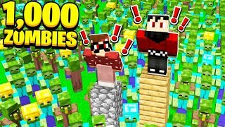 1,000 ZOMBIES vs 2 MINECRAFT NOOBS! with RageElixir & BrandonCrafter