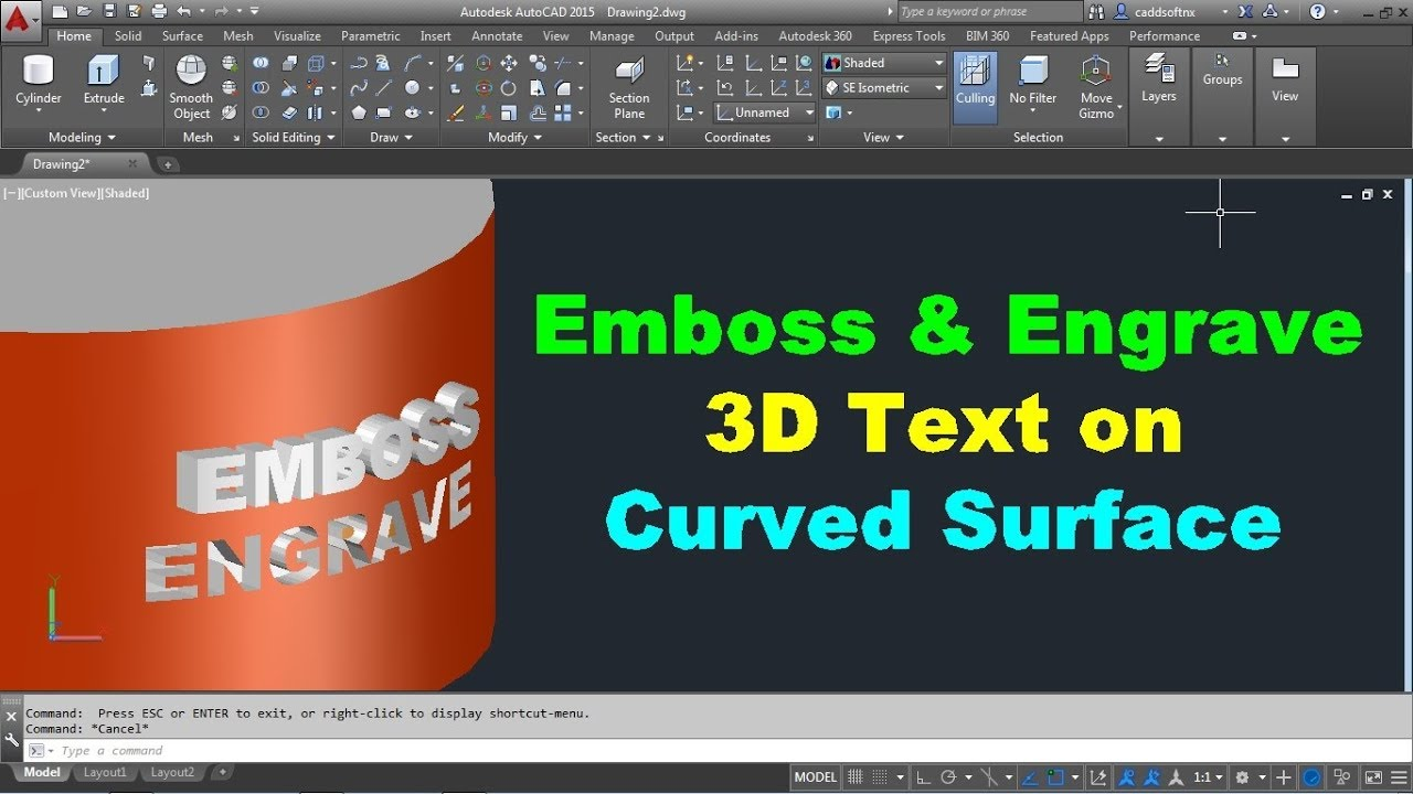 How to Emboss & Engrave Text on 3D Curved Object in AutoCAD