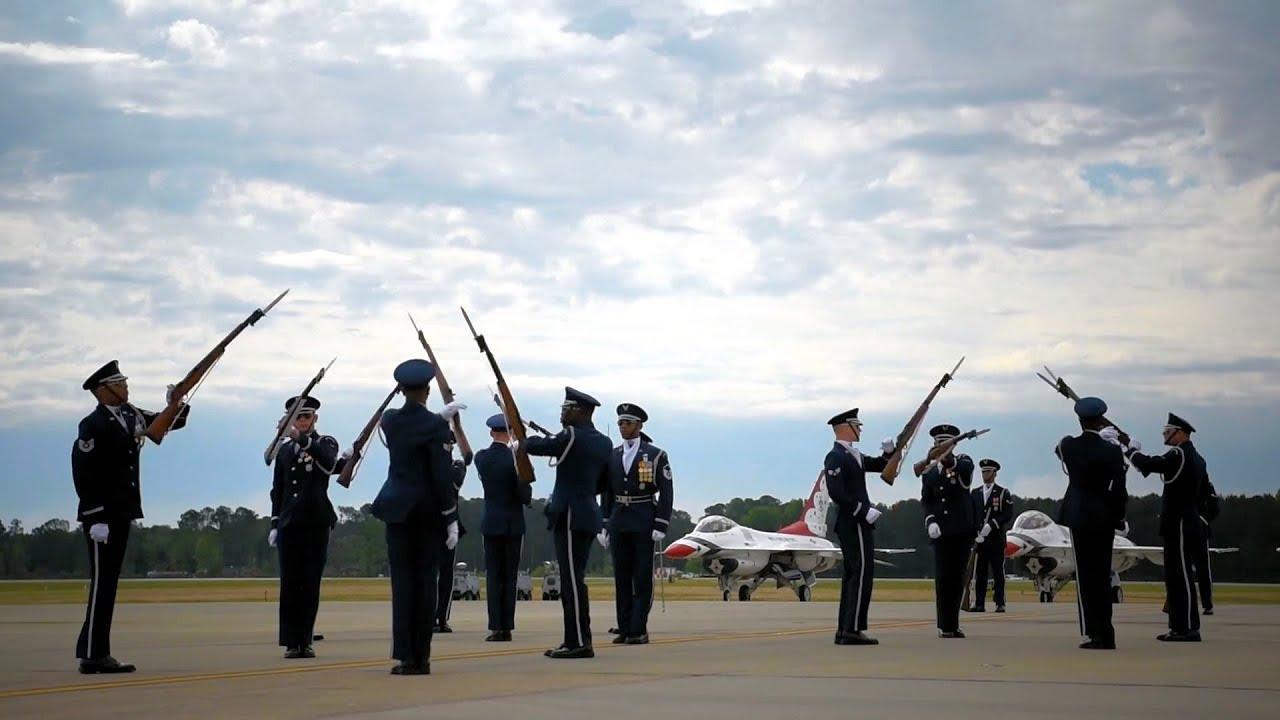 USAF Honor Guard Drill Team At WOW Air Show 2019