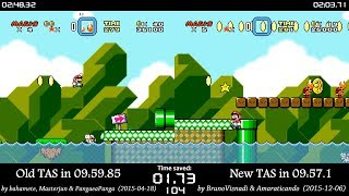 "[TAS Comparison] Super Mario World ""warps/any%"" TAS in 09:57.1"