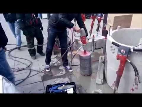 видео: Алмазное бурение 250 мм с рук без станины