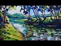 Impressionist landscape with acrylic, Painting a river, Plein air, Art techniques Enrique Zaldivar
