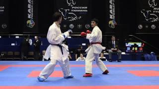 Toleyev Meirambek (KAZ) - Shcherban Aleksandr (RUS). Karate1. Tyumen, April 2013