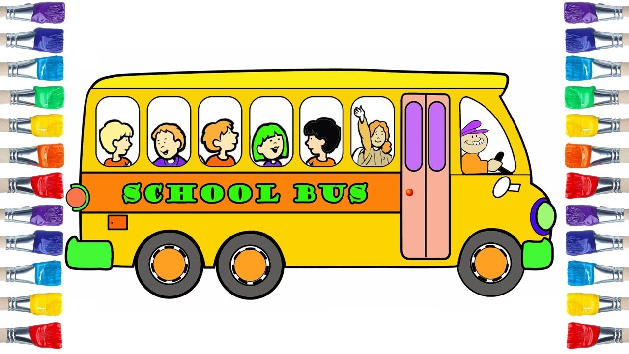 How To Draw School Bus Easy 💜💙💖 Draw And Colour For Kids